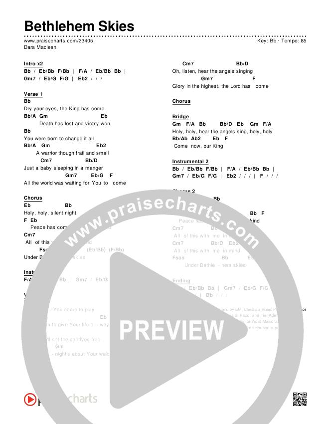 Bethlehem Skies Chords - Dara Maclean   PraiseCharts