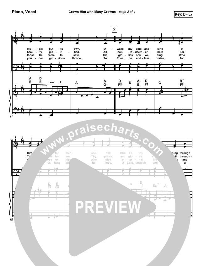 Crown Him With Many Crowns Piano/Vocal (SATB) (Traditional Hymn / PraiseCharts)