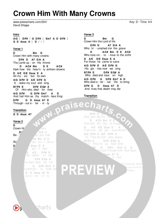 Crown Him With Many Crowns Chords & Lyrics (Traditional Hymn / PraiseCharts)