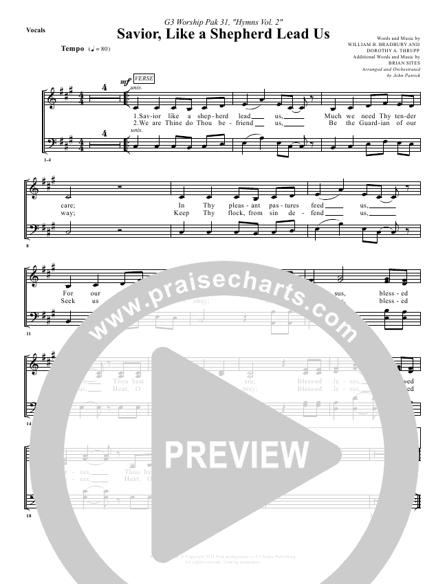 Savior Like A Shepherd Lead Us Lead & Piano/Vocal (G3 Worship)