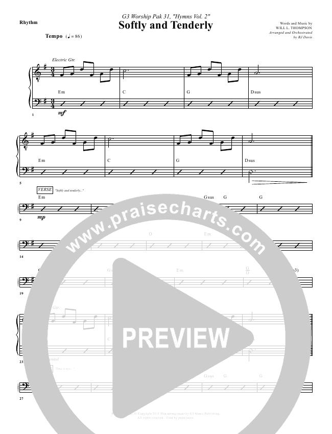 Softly And Tenderly Rhythm Chart (G3 Worship)