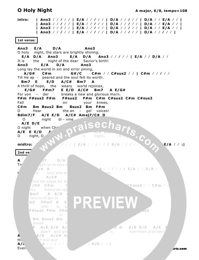 O Holy Night Chords Don Chapman Praisecharts