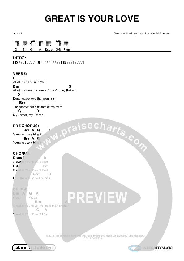 Great Is Your Love Chord Chart (Planetshakers)