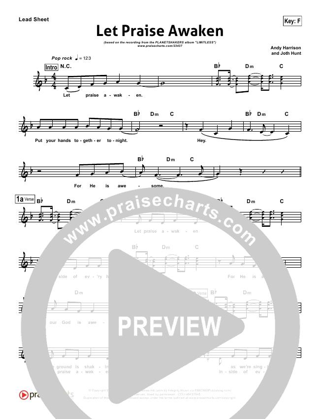 Let Praise Awaken Lead Sheet (Planetshakers)