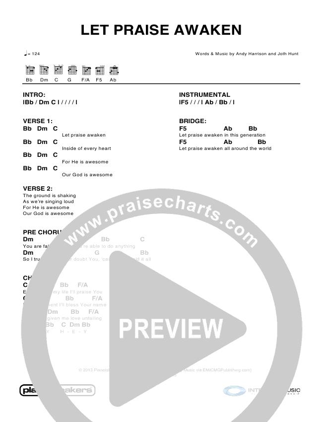 Let Praise Awaken Chord Chart (Planetshakers)