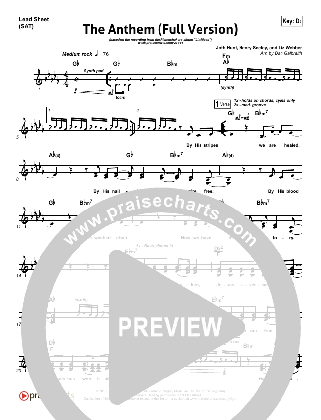 The Anthem (Full Version) (Live) Lead Sheet (SAT) (Planetshakers)