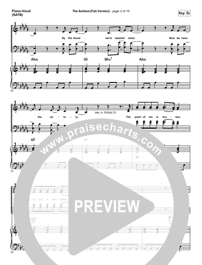 The Anthem (Full Version) (Live) Piano/Vocal (SATB) (Planetshakers)