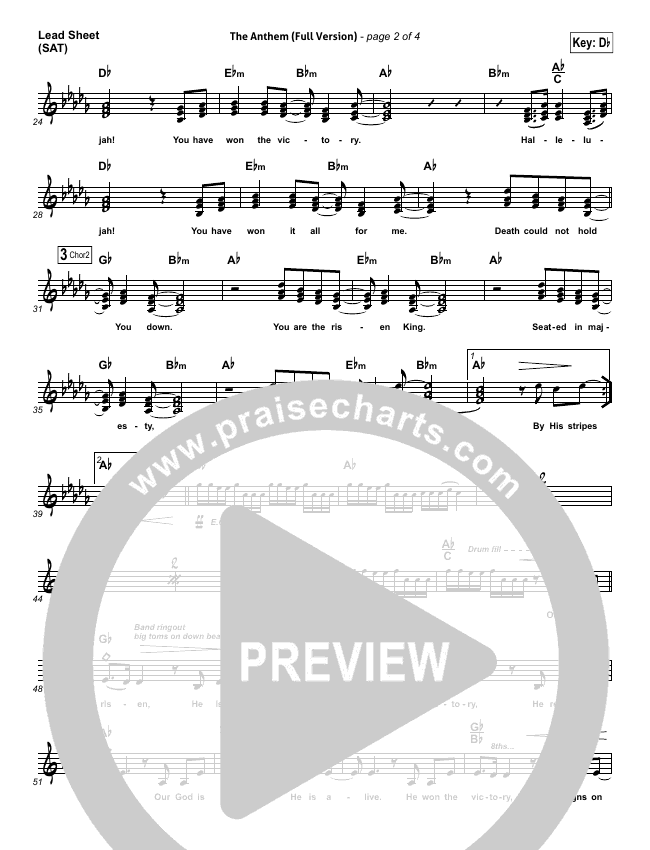 The Anthem Lead Sheet Pianovocal Planetshakers Praisecharts
