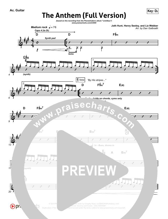 The Anthem (Full Version) (Live) Rhythm Chart (Planetshakers)
