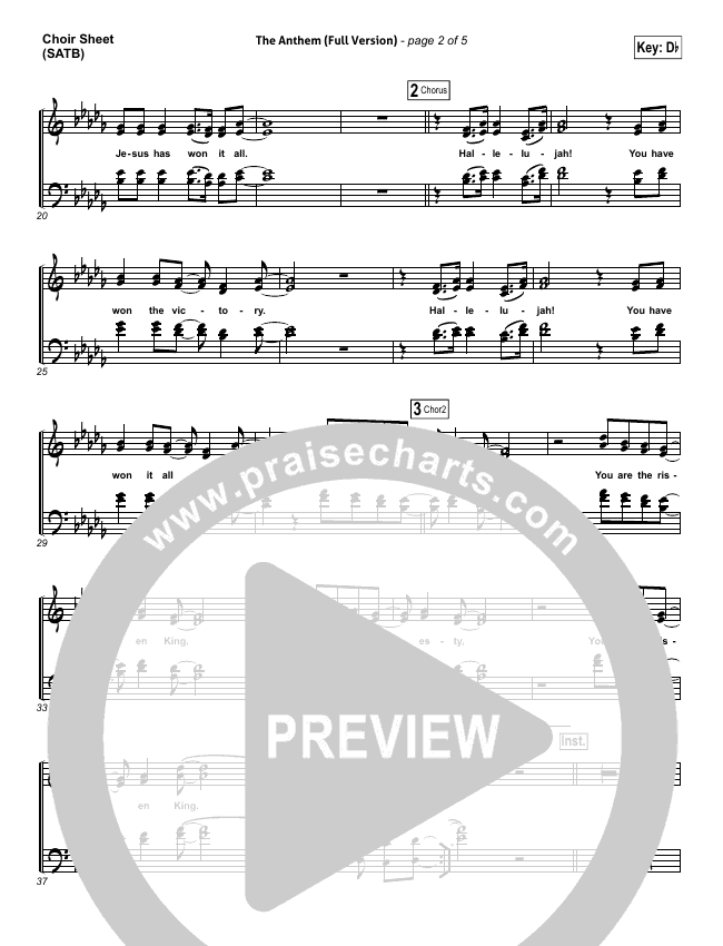 The Anthem (Full Version) (Live) Choir Sheet (SATB) (Planetshakers)