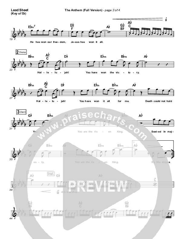 The Anthem (Full Version) (Live) Lead Sheet (Melody) (Planetshakers)