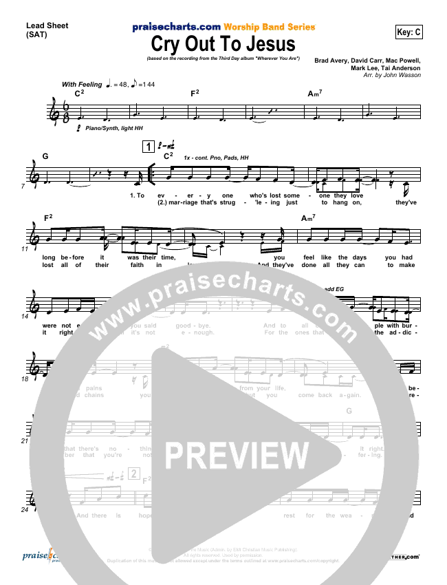 Cry Out To Jesus Lead Sheet (SAT) (Third Day)
