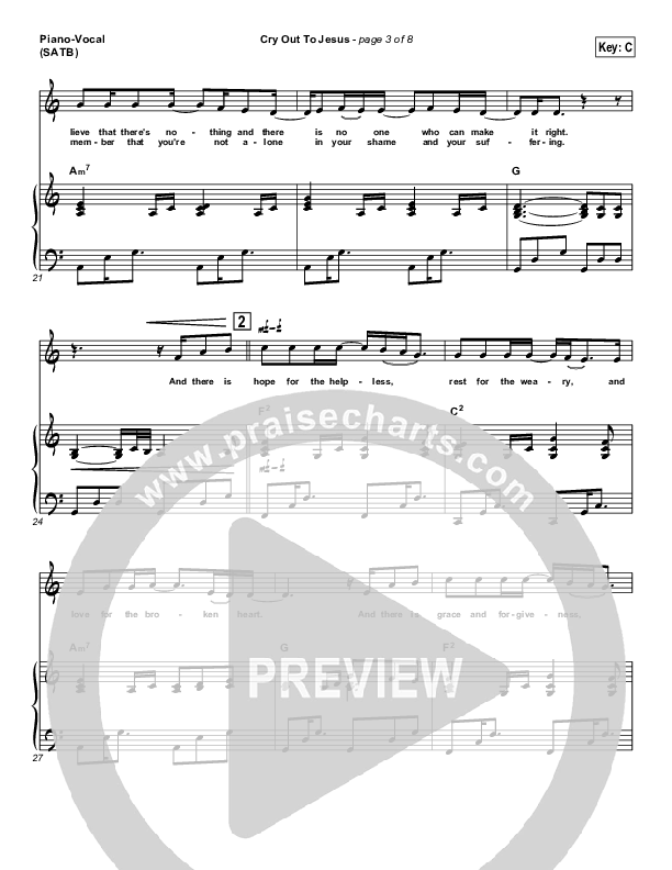 Cry Out To Jesus Piano/Vocal (SATB) (Third Day)
