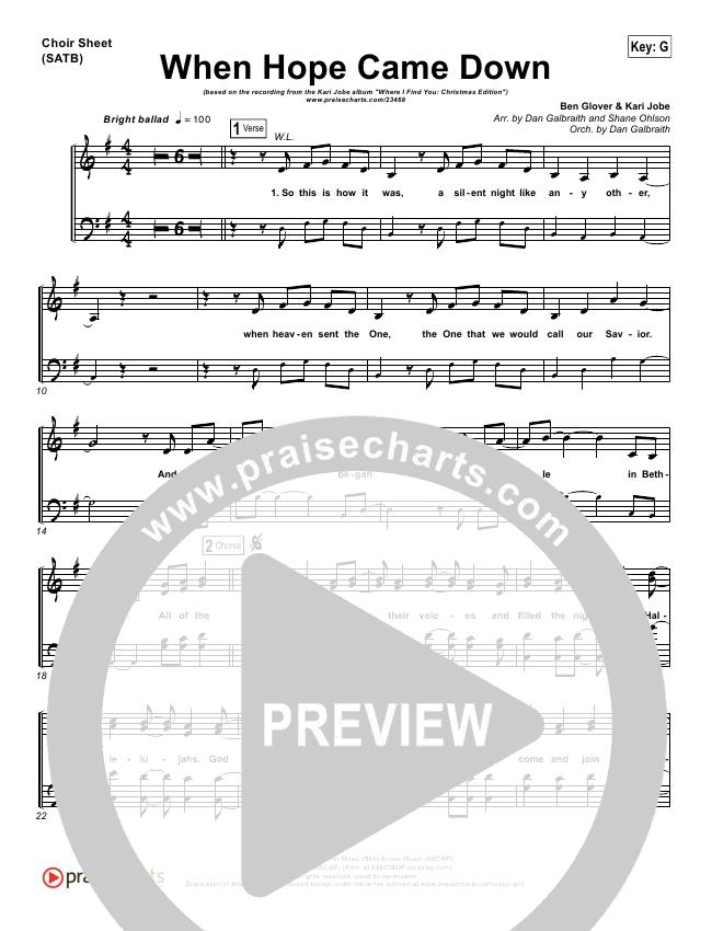 When Hope Came Down Choir Sheet Satb Kari Jobe Praisecharts