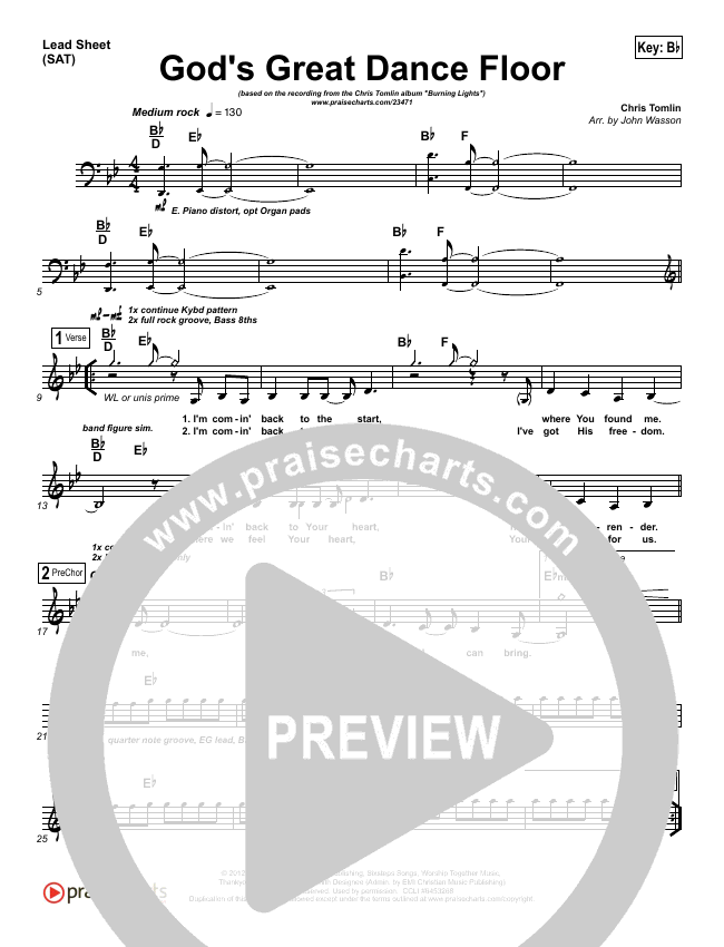 God's Great Dance Floor Lead Sheet (SAT) (Chris Tomlin / Passion)