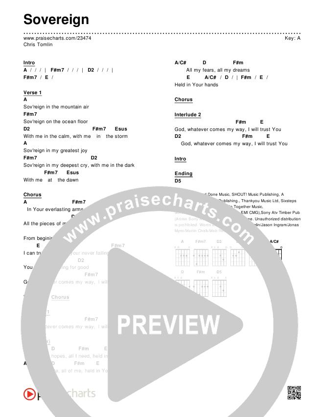 Sovereign Chords & Lyrics (Chris Tomlin)
