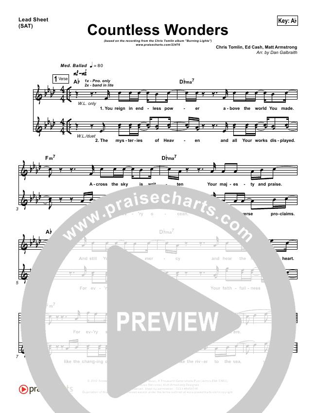 Countless Wonders Lead & Piano/Vocal (Chris Tomlin)