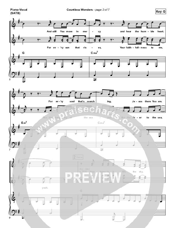 Countless Wonders Piano/Vocal (SATB) (Chris Tomlin)