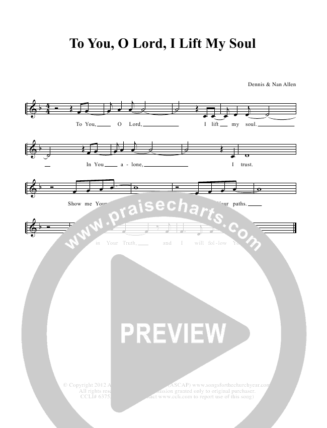 To You O Lord I Lift My Soul Lead & Piano (Dennis Allen / Nan Allen)