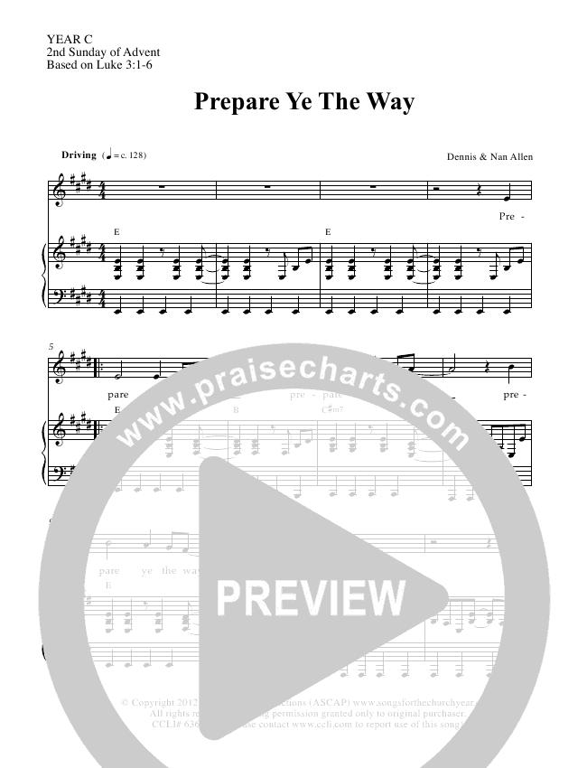 Prepare Ye The Way Lead & Piano (Dennis Allen / Nan Allen)