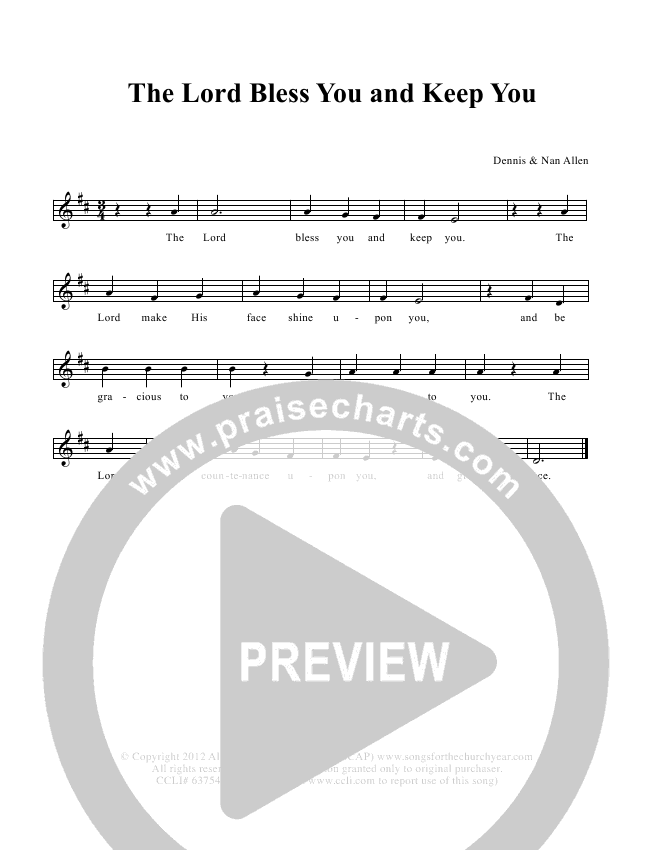 The Lord Bless You And Keep You Lead & Piano (Dennis Allen / Nan Allen)