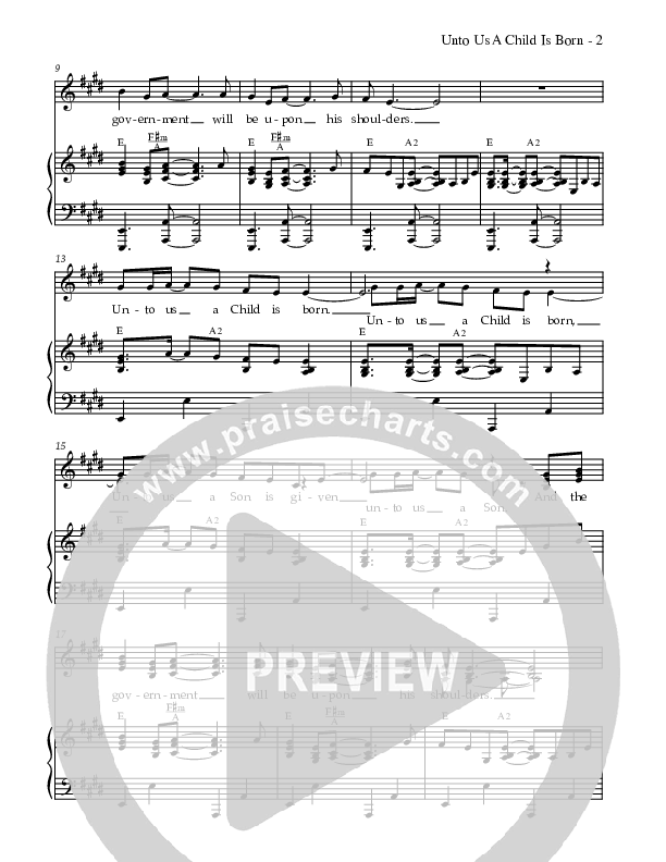 Unto Us A Child Is Born Lead & Piano (Dennis Allen / Nan Allen)