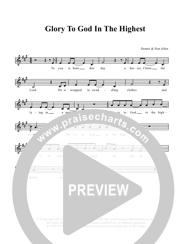Glory To God In The Highest Lead & Piano/Vocal (Dennis Allen / Nan Allen)