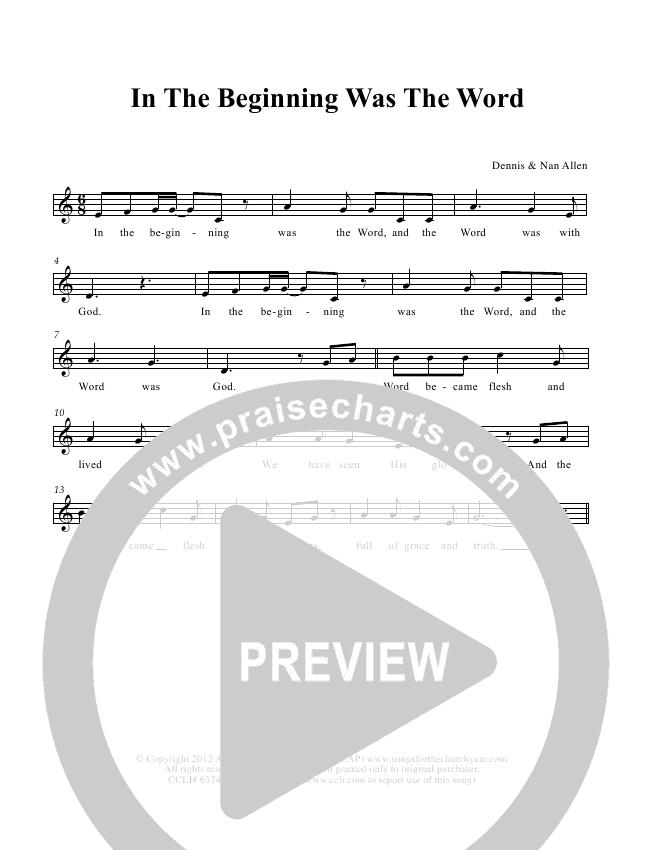 In The Beginning Was The Word Lead & Piano (Dennis Allen / Nan Allen)