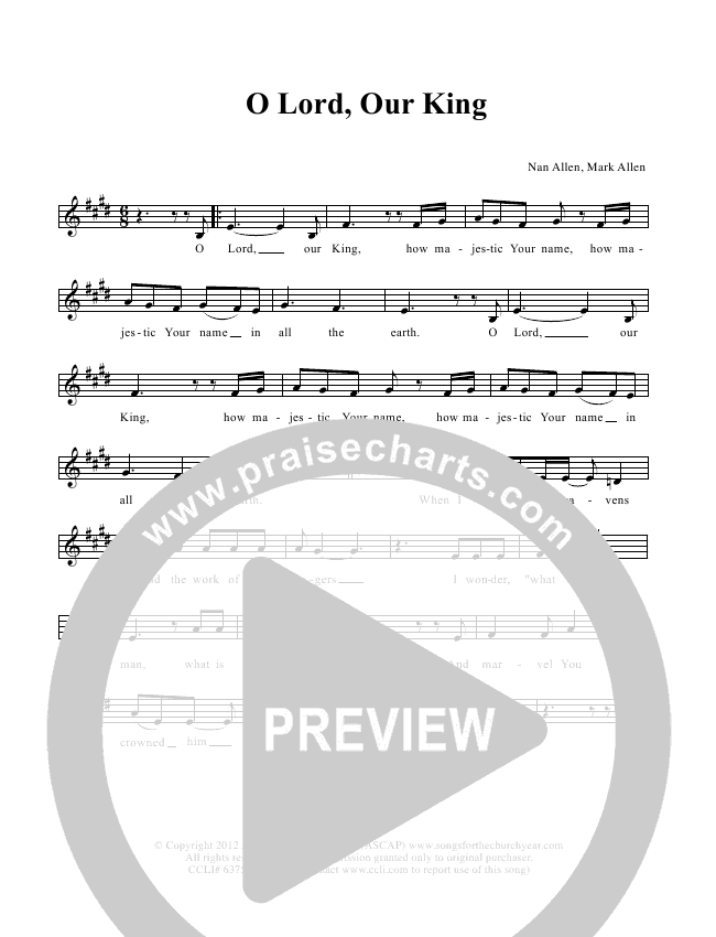 O Lord Our King Lead & Piano (Dennis Allen / Nan Allen)