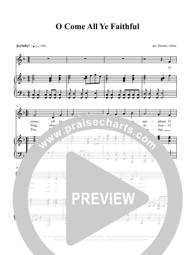 O Come All Ye Faithful Piano/Vocal (Dennis Allen / Nan Allen)