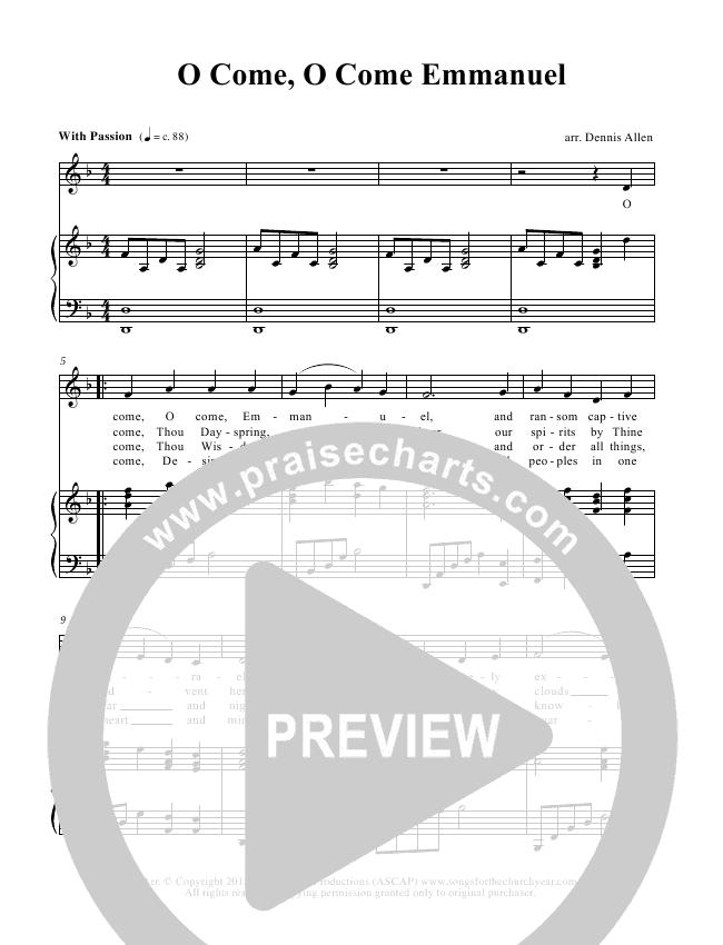 O Come O Come Emmanuel Piano/Vocal (Dennis Allen / Nan Allen)