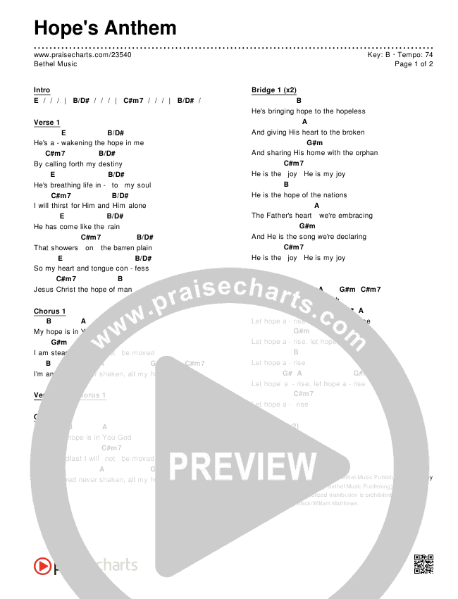 Hope\'s Anthem Chords - Bethel Music | PraiseCharts