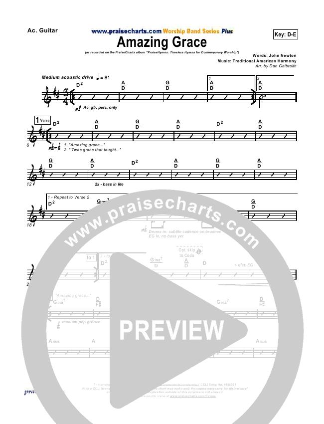 Amazing Grace Rhythm Chart (PraiseCharts Band / Arr. Dan Galbraith)