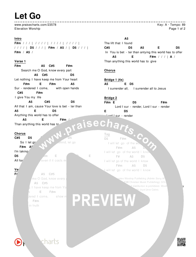 Let Go Chords & Lyrics (Elevation Worship)