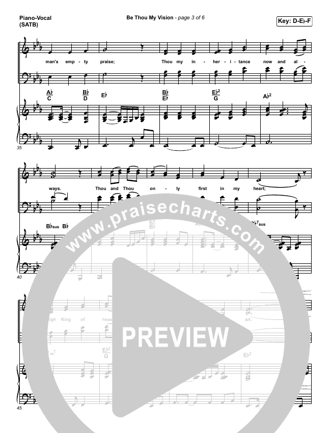 Be Thou My Vision Lead Sheet Pianovocal Praisecharts Band