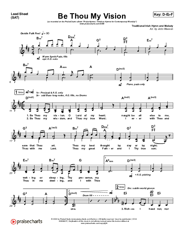 Be Thou My Vision Orchestration (PraiseCharts Band / Arr. John Wasson)