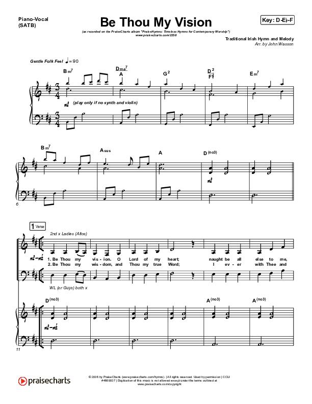 Be Thou My Vision Piano/Vocal (SATB) (PraiseCharts Band / Arr. John Wasson)
