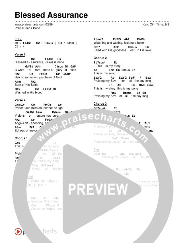 Blessed Assurance Chords & Lyrics (PraiseCharts Band)