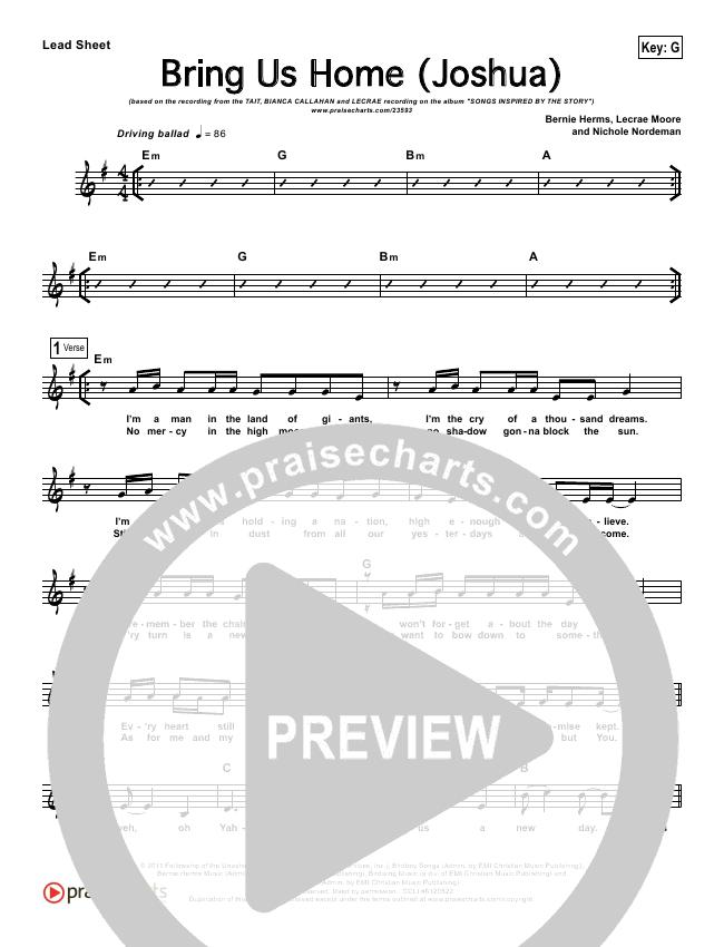 Bring Us Home (Joshua) Lead Sheet (Michael Tait / Blanca / Lecrae)
