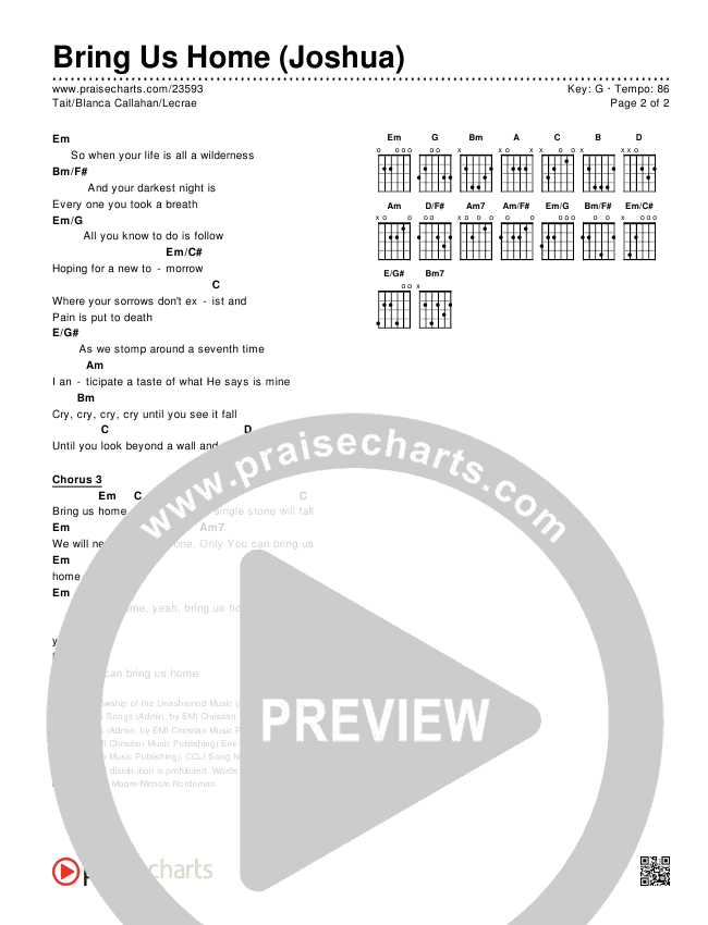 Bring Us Home (Joshua) Chords & Lyrics (Michael Tait / Blanca / Lecrae)