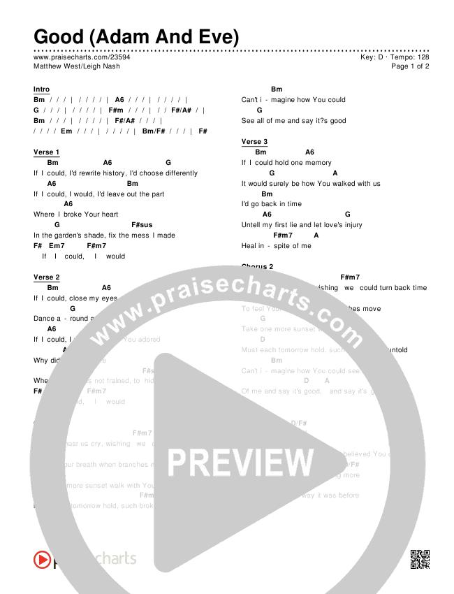 Good (Adam And Eve) Chords & Lyrics (Matthew West / Leigh Nash)
