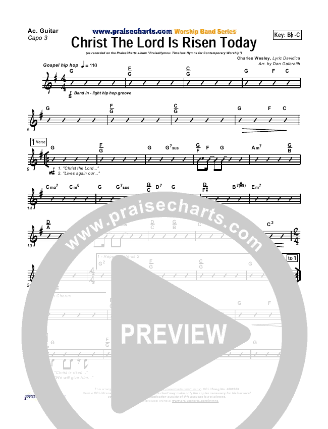 Christ The Lord Is Risen Today Rhythm Chart - PraiseCharts Band ...