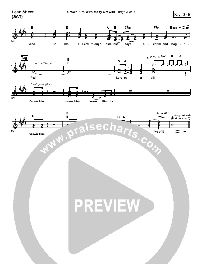 Crown Him With Many Crowns Lead & Piano/Vocal (PraiseCharts Band / Arr. Dan Galbraith)