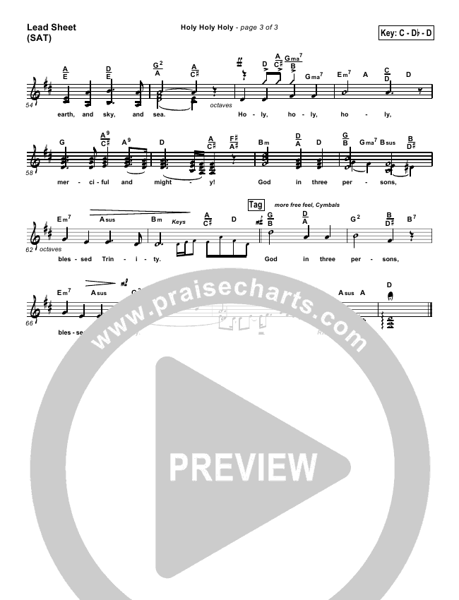 Holy Holy Holy Lead & Piano/Vocal (PraiseCharts Band)