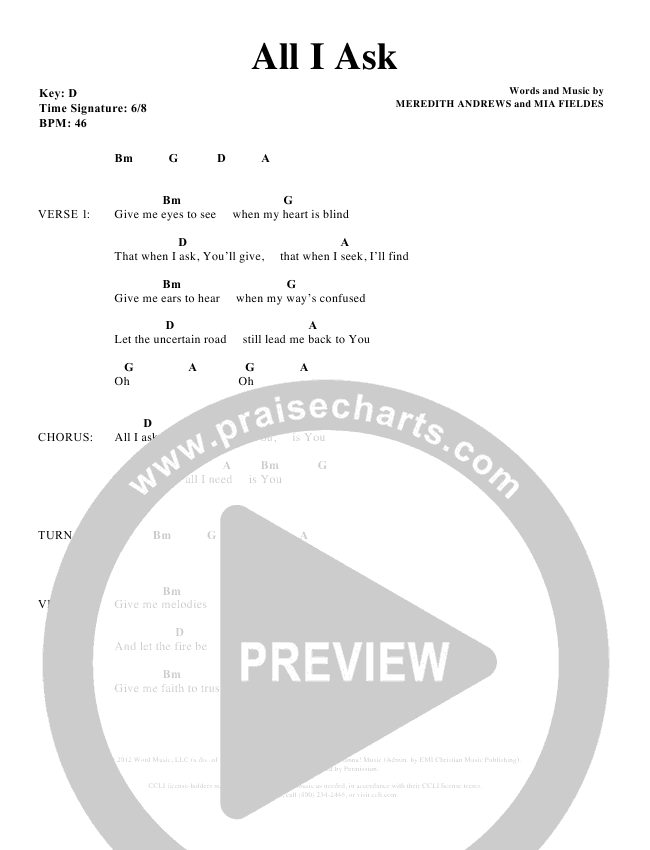 All I Ask Chords - Meredith Andrews | PraiseCharts