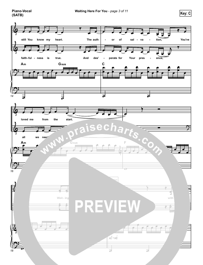 Waiting Here For You Piano/Vocal (SATB) (Martin Smith / Jesus Culture)