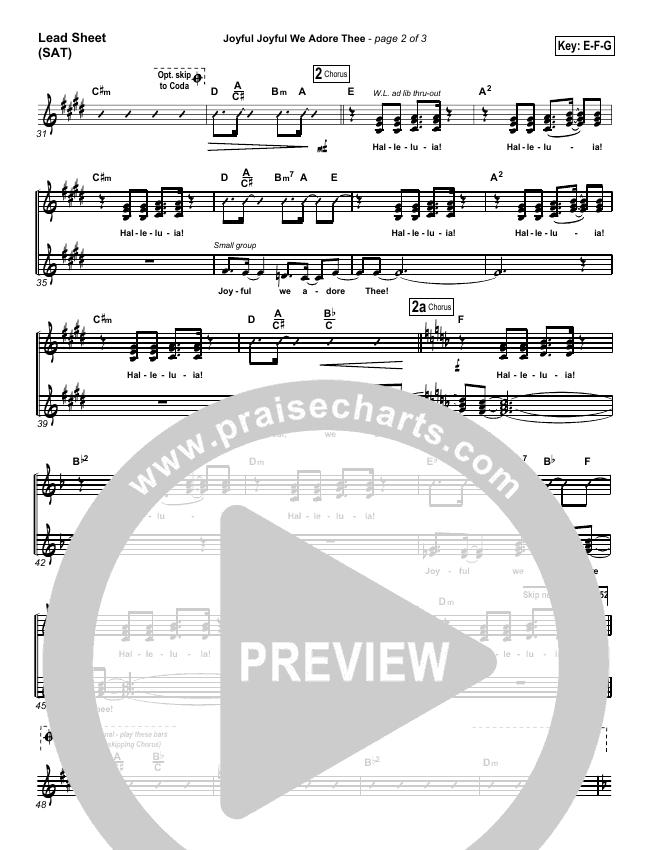 Joyful Joyful We Adore Thee Lead Sheet (SAT) (PraiseCharts Band)