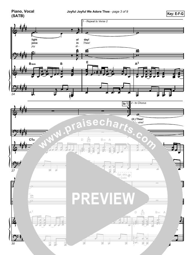 Joyful Joyful We Adore Thee Piano/Vocal (SATB) (PraiseCharts Band)