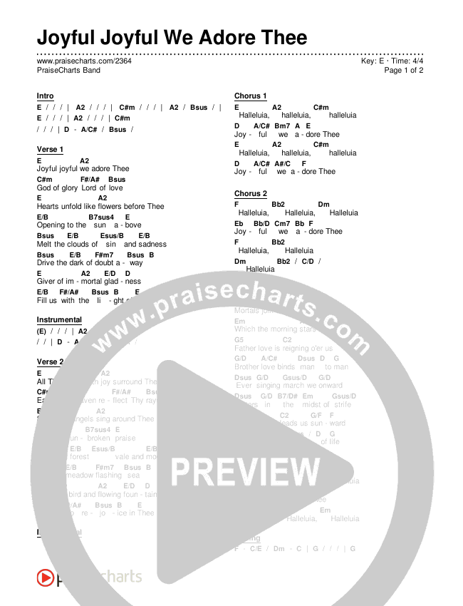Joyful Joyful We Adore Thee Chords & Lyrics (PraiseCharts Band / Arr. Dan Galbraith)