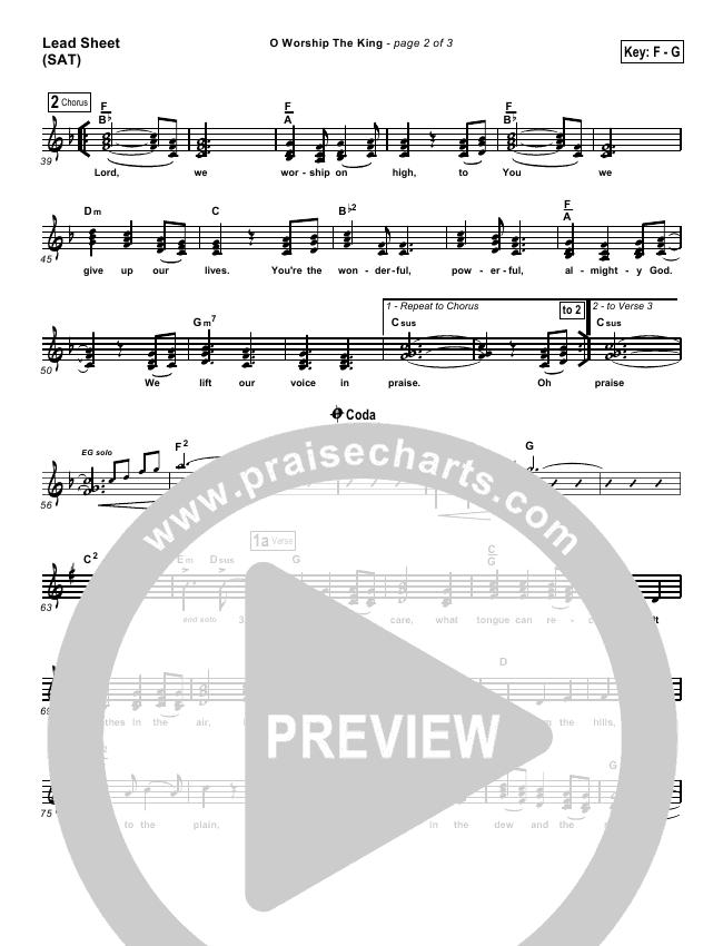O Worship The King Lead & Piano/Vocal (PraiseCharts Band)